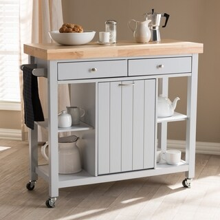 The Gray Barn Muckross Farmhouse Grey Wood Kitchen Cart