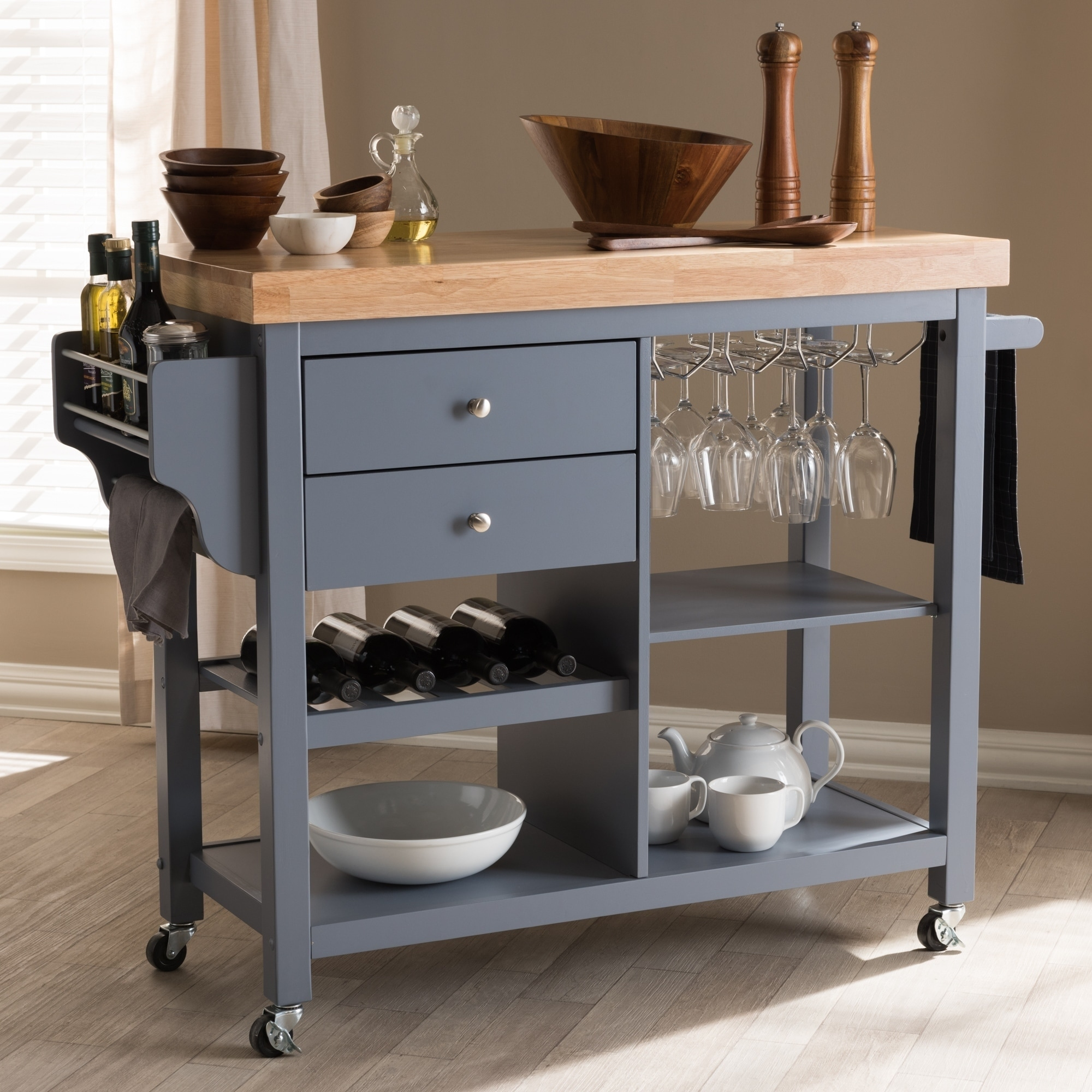 Farmhouse Grey Wood Kitchen Cart by Baxton Studio