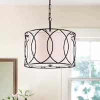 Gisnao Antique Bronze 3-Light Caged Drum 16-Inch Pendant