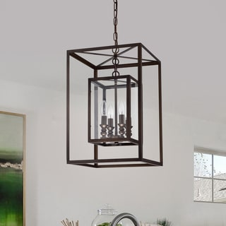 Link to Baynolum 4-Light Antique Bronze 14-Inch Pendant with Glass Panel Shades Similar Items in Pendant Lights