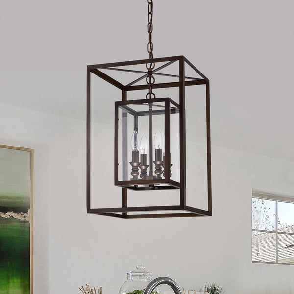 Baynolum 4-Light Antique Bronze 14-Inch Pendant with Glass Panel Shades