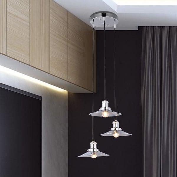 Cheyenne Nickel 3-Lamp Chandelier includes Edison Bulbs