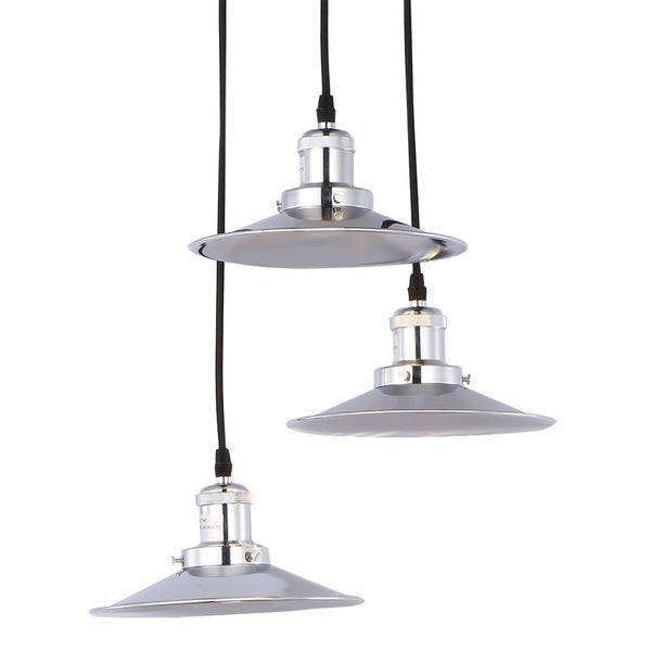 Cheyenne Nickel 3-Lamp Chandelier includes Edison Bulbs