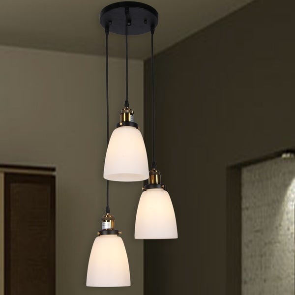 Patricia 3-Light Chandelier Transluscent White Glass Shades includes Edison Bulbs