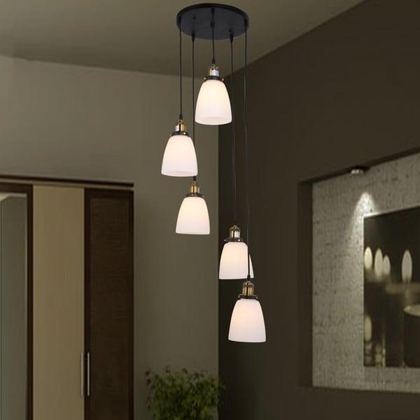 Krisha 5-light Chandelier with Transluscsent White Glass Shades includes Edison Bulbs