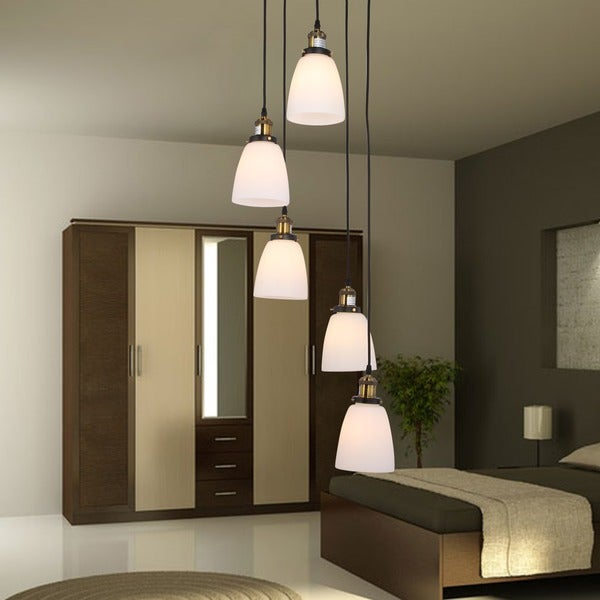 Krisha 5-light Chandelier with Transluscsent White Glass Shades includes Edison Bulbs