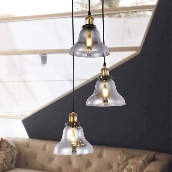 Candice 3-light Chandelier with Smoked Glass Shades includes Edison Bulbs
