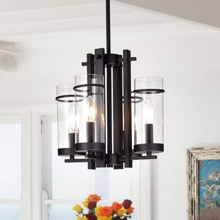 Caluec Black Metal 4-Light Pendant Clear Glass Shades