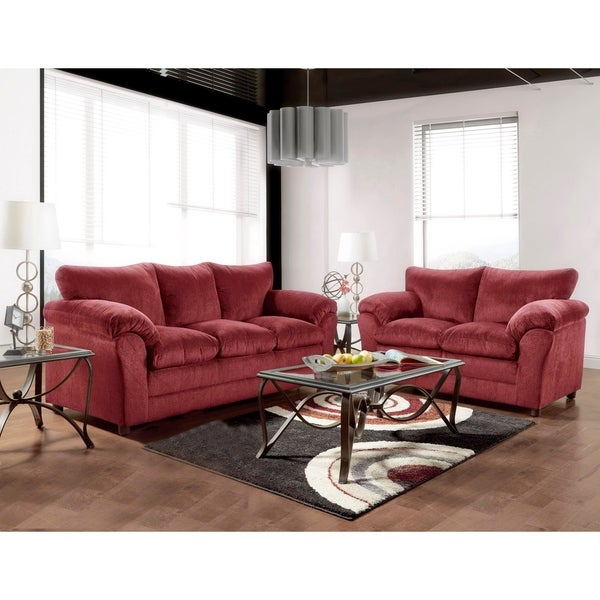 SofaTrendz Brady Burgundy Sofa & Loveseat 2-pc Set