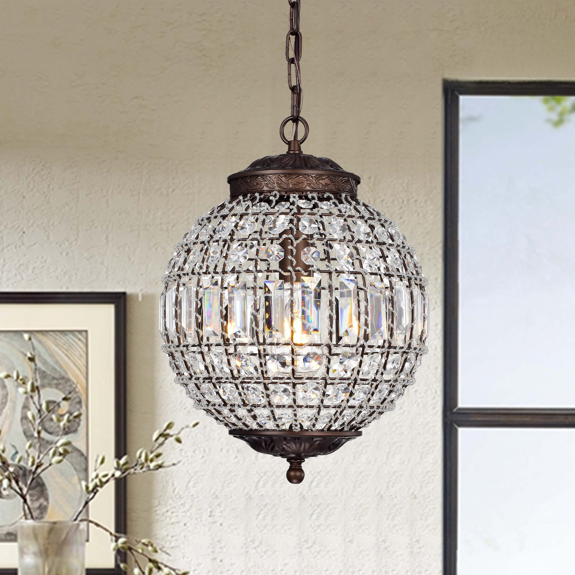 Shop Black Friday Deals On Mordae Antique Bronze 12 Inch Crystal Globe 1 Light Pendant Lamp Overstock 20289114
