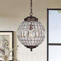Mordae Antique Bronze 12-Inch Crystal Globe 1-Light Pendant Lamp