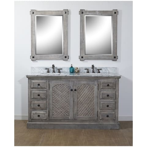 """61""""Rustic Solid Fir Double Sink Vanity in Grey Finish with Carrara White Marble Top-No Faucet"""