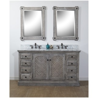 "61""Rustic Solid Fir Double Sink Vanity in Grey Finish with Carrara White Marble Top-No Faucet"