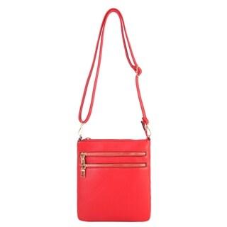 Diophy Front Double Zipper Pocket Cross Body Handbag - S
