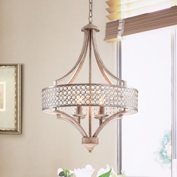 Fleuver Weathered Brown 4-Light Metal Chandelier with Crystal Shade