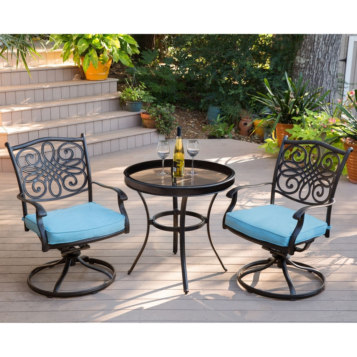 Admirable Hanover Traditions 3 Piece Swivel Bistro Set In Blue With 30 In Glass Top Table Caraccident5 Cool Chair Designs And Ideas Caraccident5Info