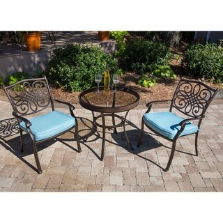 Hanover Traditions 3-Piece Bistro Set in Blue with 30 In. Glass-top Table
