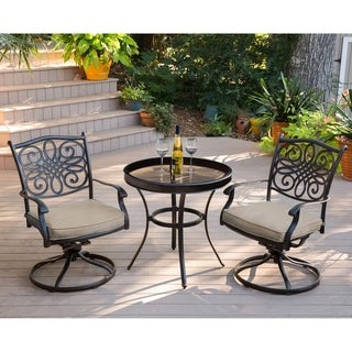 Hanover Traditions 3-Piece Swivel Bistro Set in Tan with 30 in. Glass-top Table