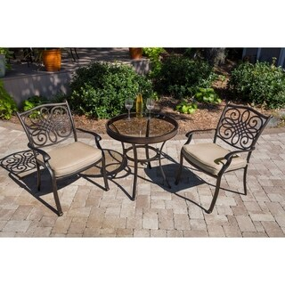 Hanover Traditions 3-Piece Bistro Set in Tan with 30 in. Glass-Top Table