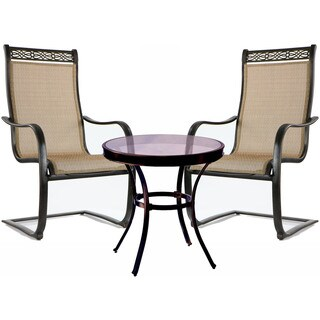 Hanover Monaco 3-Piece Bistro Set with Spring Sling Chairs