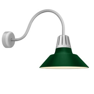 Troy RLM Lighting Heavy Metal Painted Natural Aluminum Outdoor Wall Mount, Hunter Green 18-inch Shade