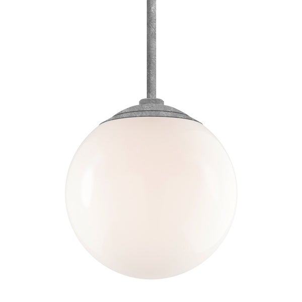 Troy RLM Lighting Globe Galvanized 24-inch Stem Pendant, White 16-inch Shade