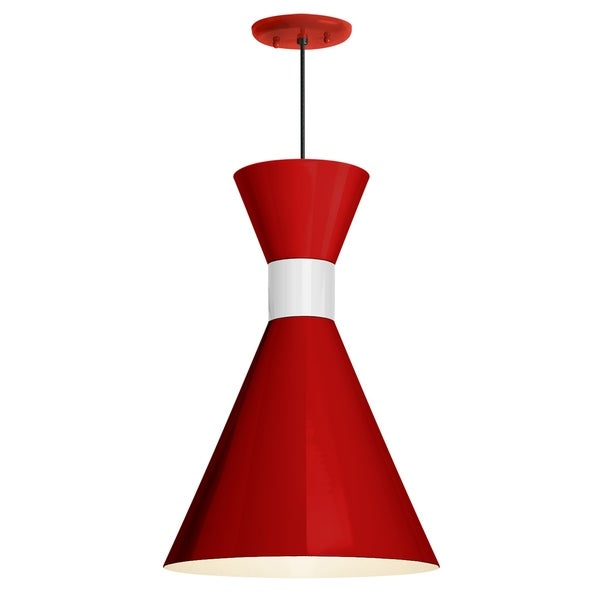Troy RLM Lighting Mid Century 10-inch Pendant, Red Shade - Gloss White Center Adapter