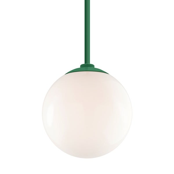 Troy RLM Lighting Globe Hunter Green 24-inch Stem Pendant, White 12-inch Shade