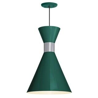 Troy RLM Lighting Mid Century 10-inch Pendant, Hunter Green Shade - Flannel Gray Center Adapter - Grey