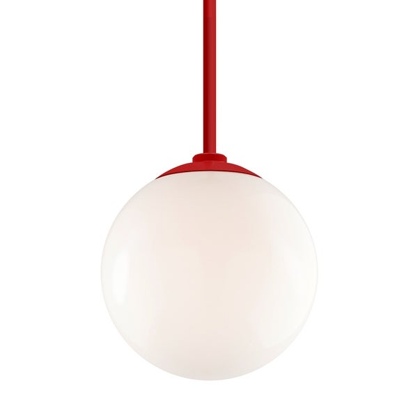 Troy RLM Lighting Globe Red 24-inch Stem Pendant, White 12-inch Shade