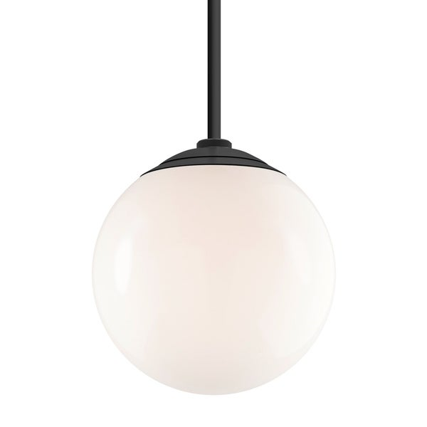 Troy RLM Lighting Globe Gloss Black 24-inch Stem Pendant, White 16-inch Shade