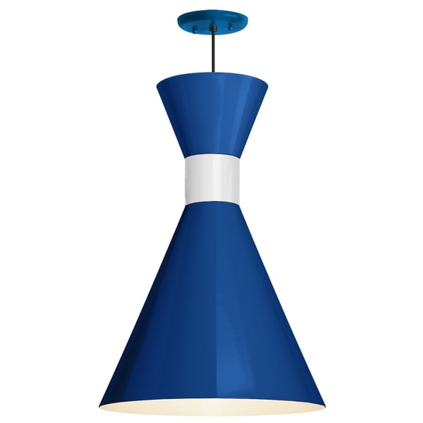 Troy RLM Lighting Mid Century 12-inch Pendant, Blue Shade - Gloss White Center Adapter