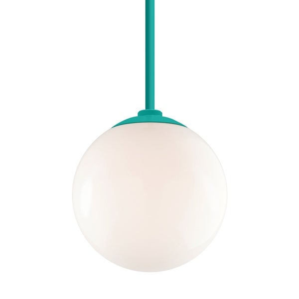 Troy RLM Lighting Globe Tahitian Teal 24-inch Stem Pendant, White 12-inch Shade