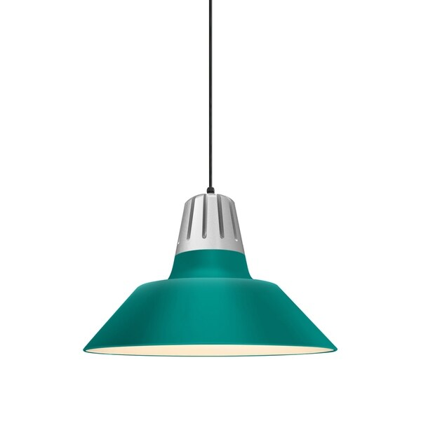 Troy RLM Lighting Heavy Metal Painted Natural Aluminum Pendant, Tahitian Teal 18-inch Shade