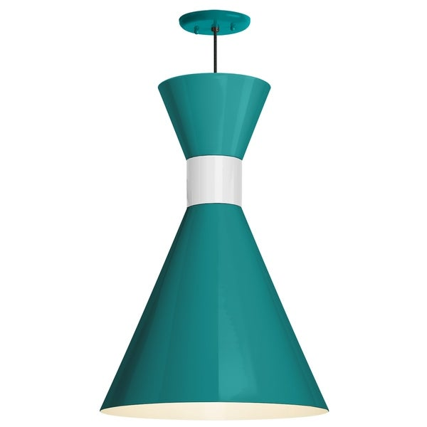 Troy RLM Lighting Mid Century 12-inch Pendant, Tahitian Teal Shade - Semi Gloss White Center Adapter