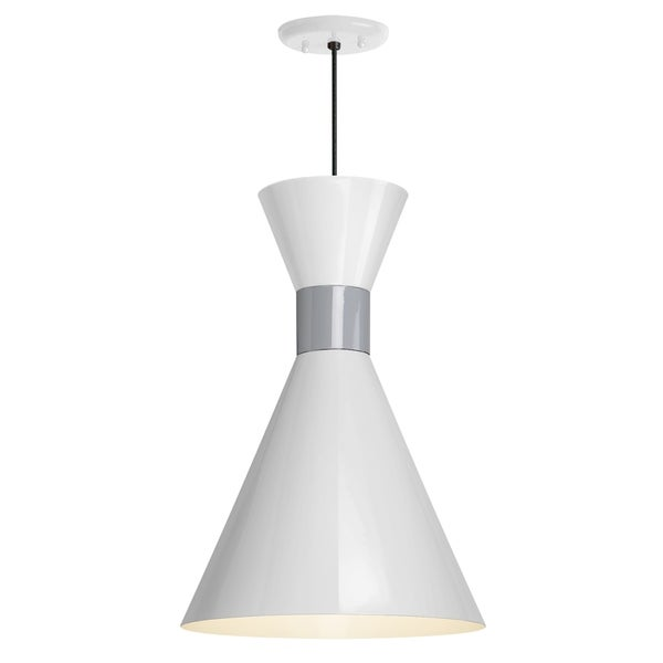 Troy RLM Lighting Mid Century 10-inch Pendant, Gloss White Shade - Flannel Gray Center Adapter