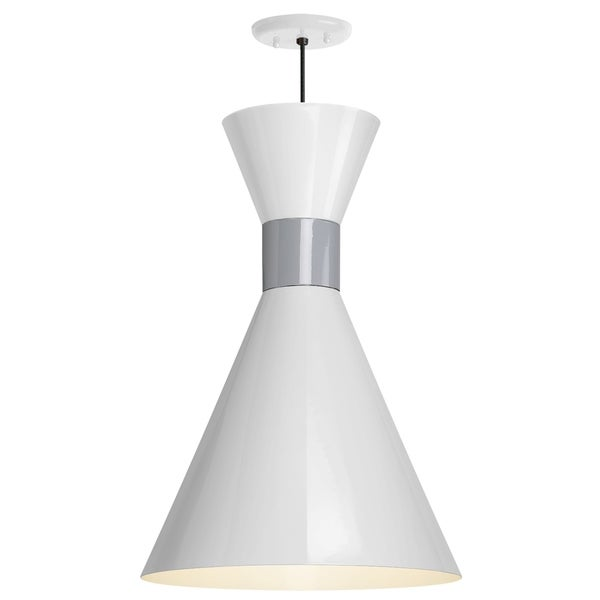 Troy RLM Lighting Mid Century 12-inch Pendant, Gloss White Shade - Flannel Gray Center Adapter - Grey