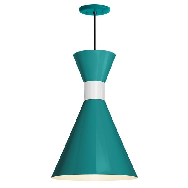 Troy RLM Lighting Mid Century 10-inch Pendant, Tahitian Teal Shade - Semi Gloss White Center Adapter