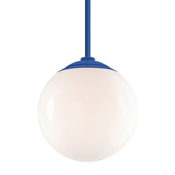 Troy RLM Lighting Globe Blue 24-inch Stem Pendant, White 16-inch Shade