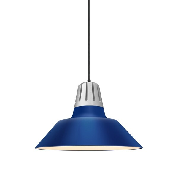 Troy RLM Lighting Heavy Metal Painted Natural Aluminum Pendant, Blue 18-inch Shade