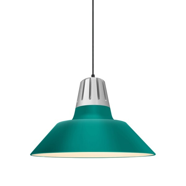 Troy RLM Lighting Heavy Metal Painted Natural Aluminum Pendant, Tahitian Teal 20-inch Shade