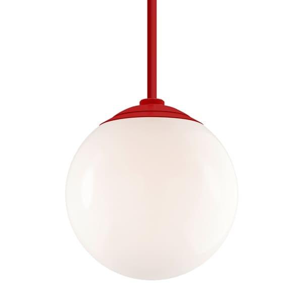 Troy RLM Lighting Globe Red 24-inch Stem Pendant, White 16-inch Shade