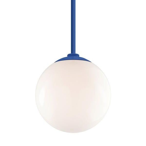 Troy RLM Lighting Globe Blue 24-inch Stem Pendant, White 12-inch Shade