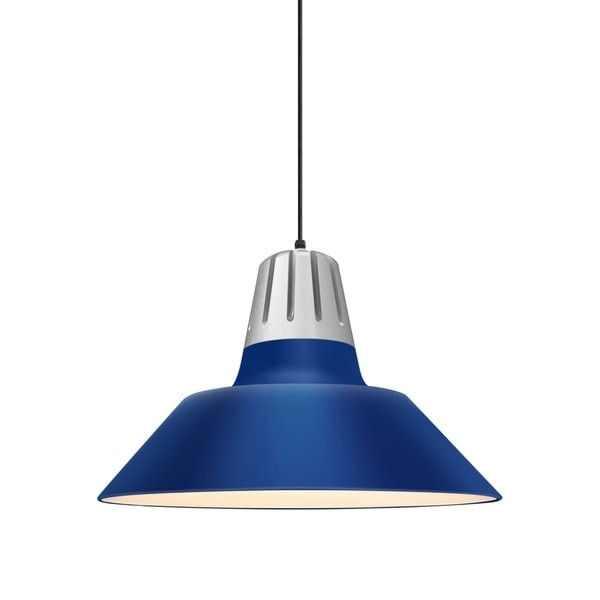 Troy RLM Lighting Heavy Metal Painted Natural Aluminum Pendant, Blue 20-inch Shade