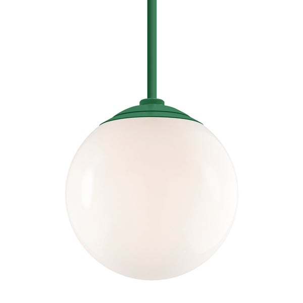 Troy RLM Lighting Globe Hunter Green 24-inch Stem Pendant, White 16-inch Shade