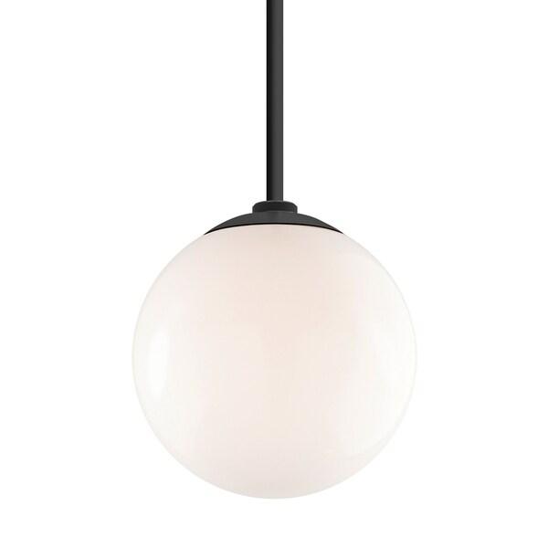 Troy RLM Lighting Globe Gloss Black 24-inch Stem Pendant, White 12-inch Shade