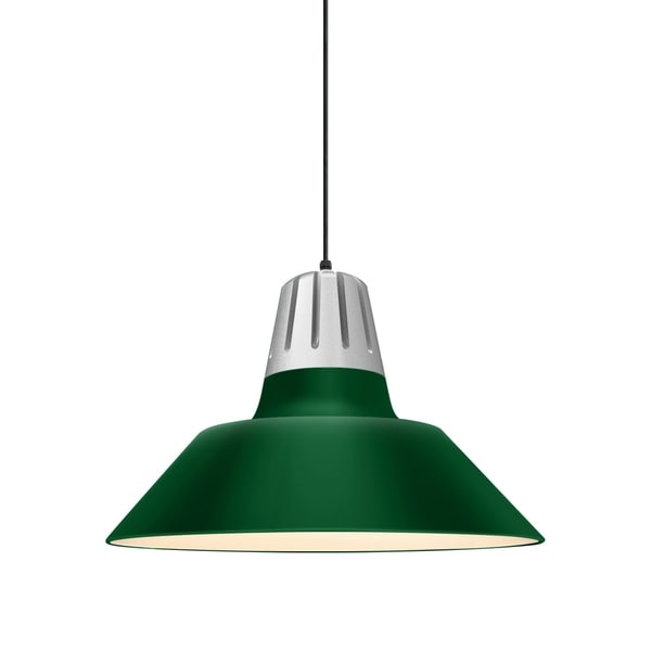 Troy RLM Lighting Heavy Metal Painted Natural Aluminum Pendant, Hunter Green 20-inch Shade