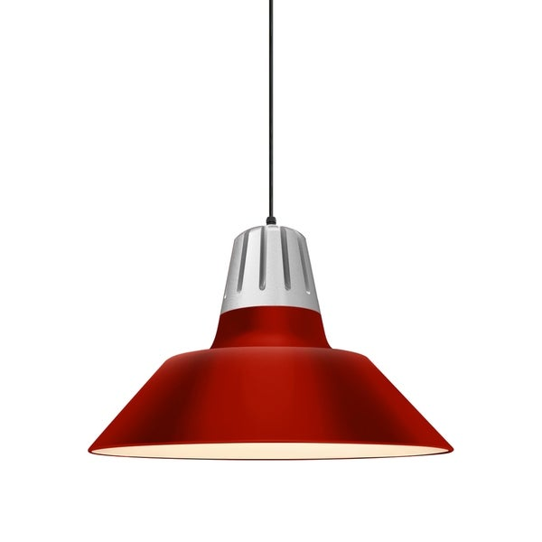 Troy RLM Lighting Heavy Metal Painted Natural Aluminum Pendant, Red 20-inch Shade