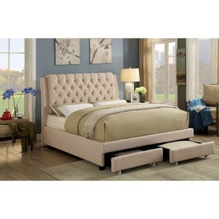 Furniture Of America Riehan Contemporary Ivory Tufted Storage Bed