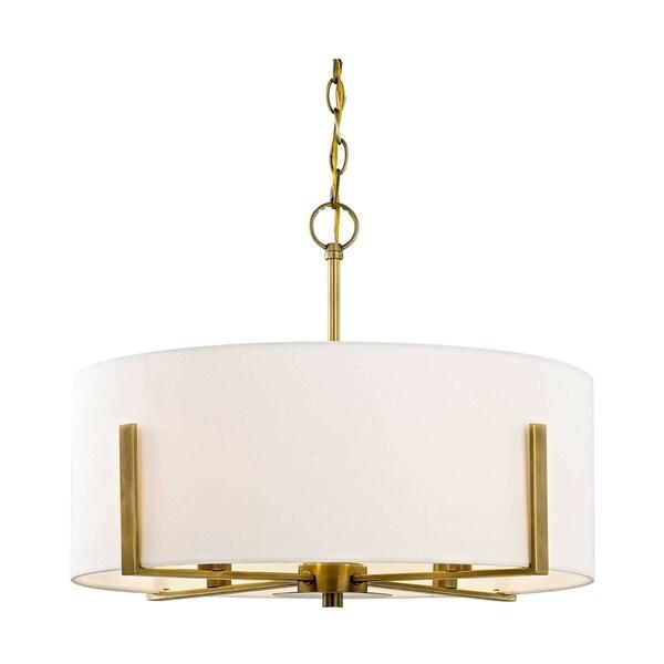 Fifth and Main Manhattan 4-light Aged Brass Pendant, Cream Fabric